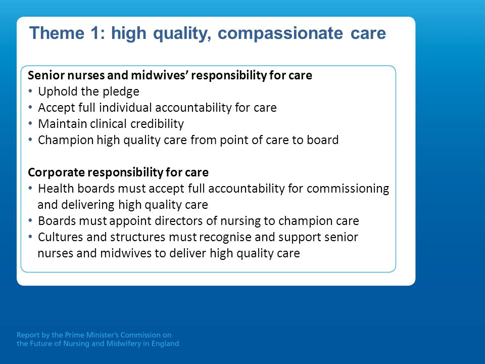 Theme 1: high quality, compassionate care