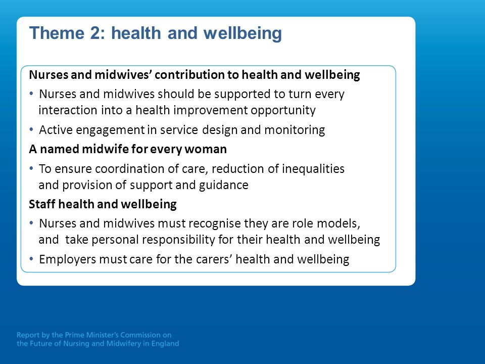 Theme 2: health and wellbeing