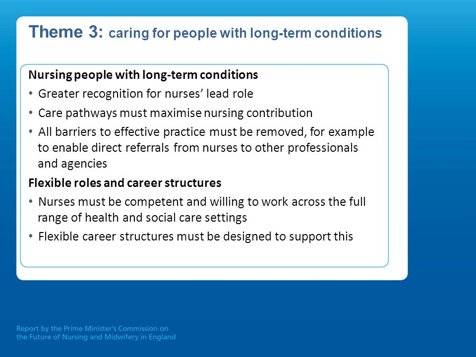 Theme 3: caring for people with long-term conditions
