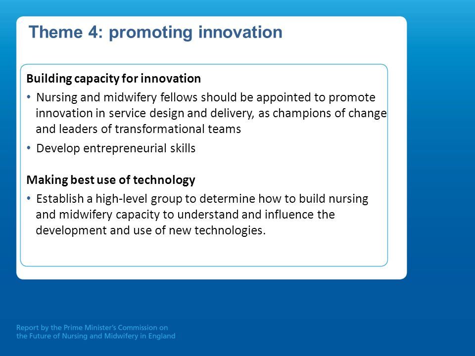 Theme 4: promoting innovation