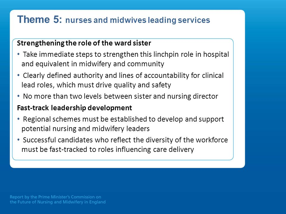 Theme 5: nurses and midwives leading services