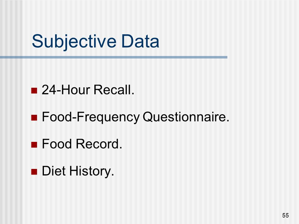 Dietary Assessment Instruments for Research