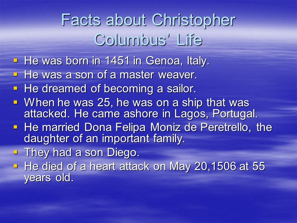 the life and works of christopher columbus Lengthy biographical article on the explorer  christopher columbus  for the  rest, the early part of columbus's life is interwoven with incidents, most of which.