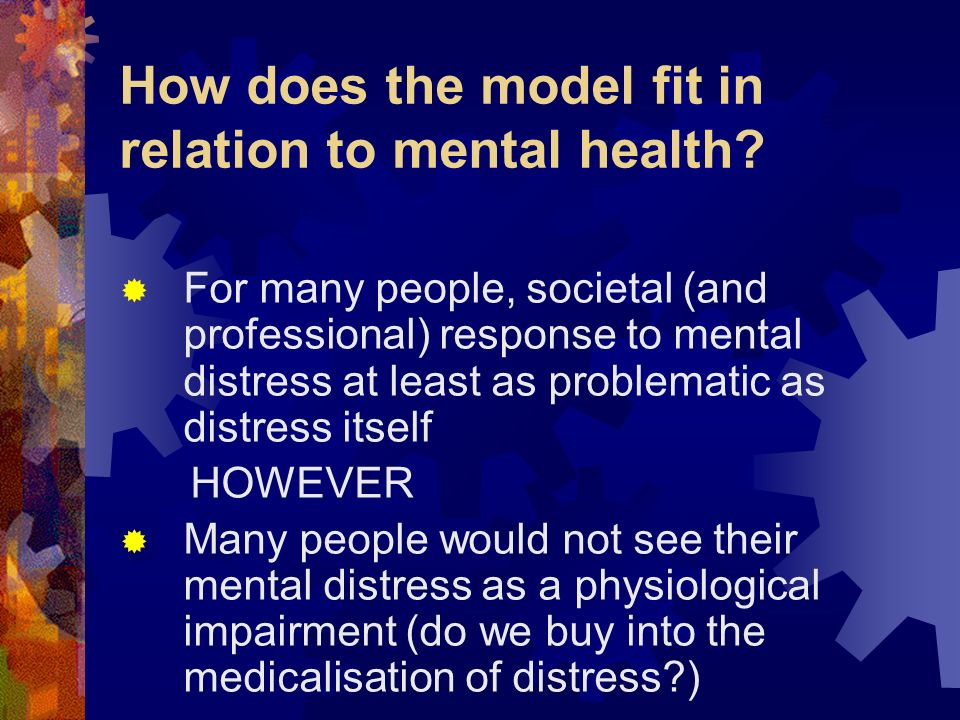 How does the model fit in relation to mental health