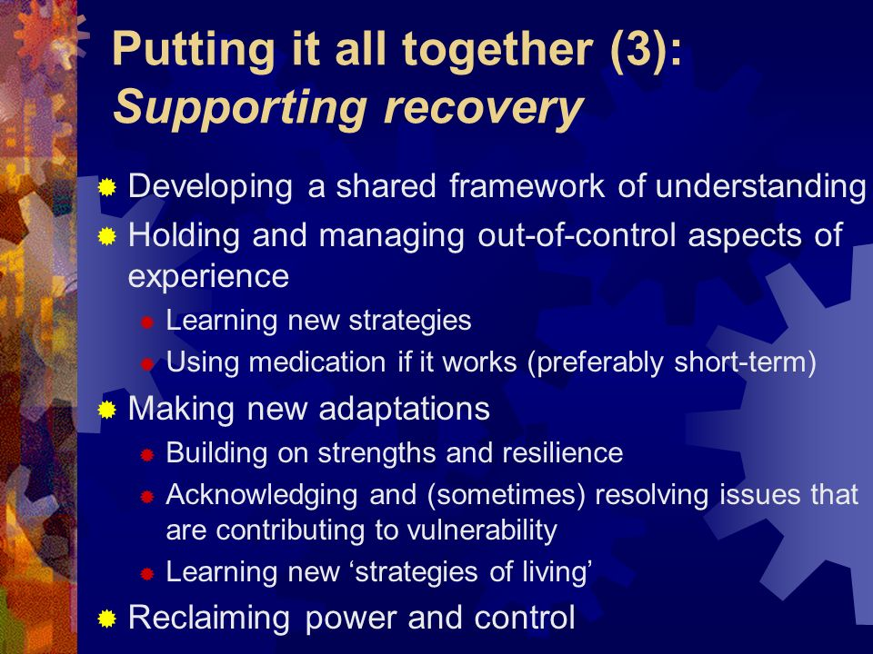 Putting it all together (3): Supporting recovery