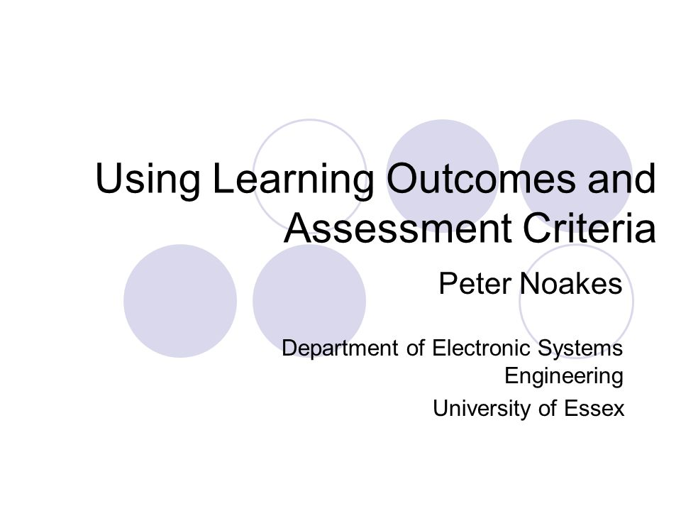 Using Learning Outcomes and Assessment Criteria