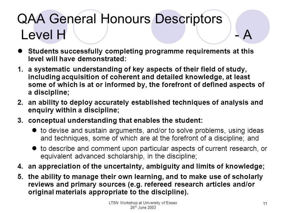 QAA General Honours Descriptors Level H - A