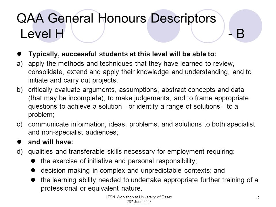 QAA General Honours Descriptors Level H - B