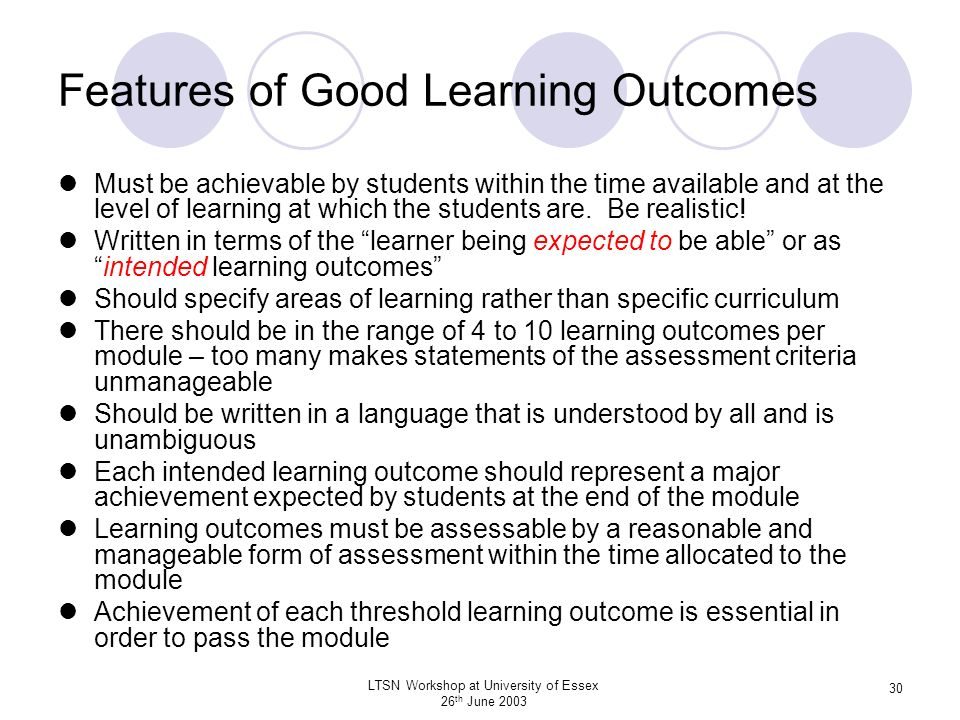 Features of Good Learning Outcomes