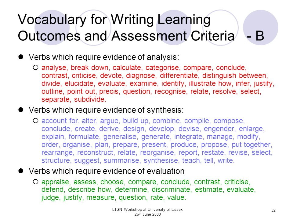 Vocabulary for Writing Learning Outcomes and Assessment Criteria - B