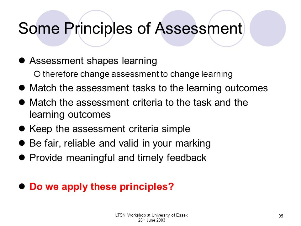 The principles of assessment in learning