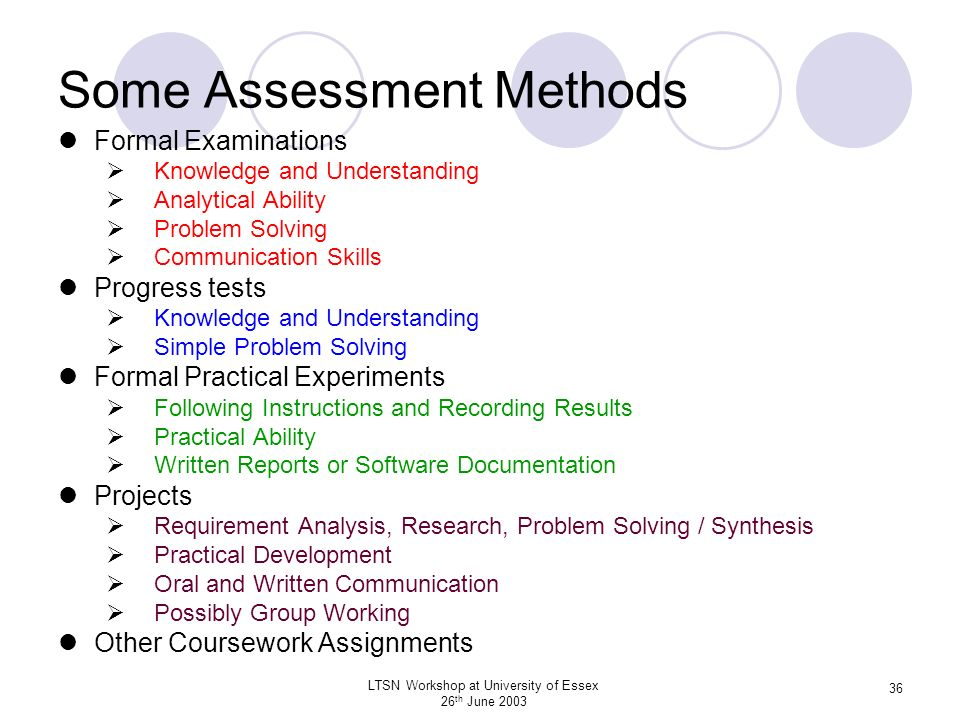 Some Assessment Methods