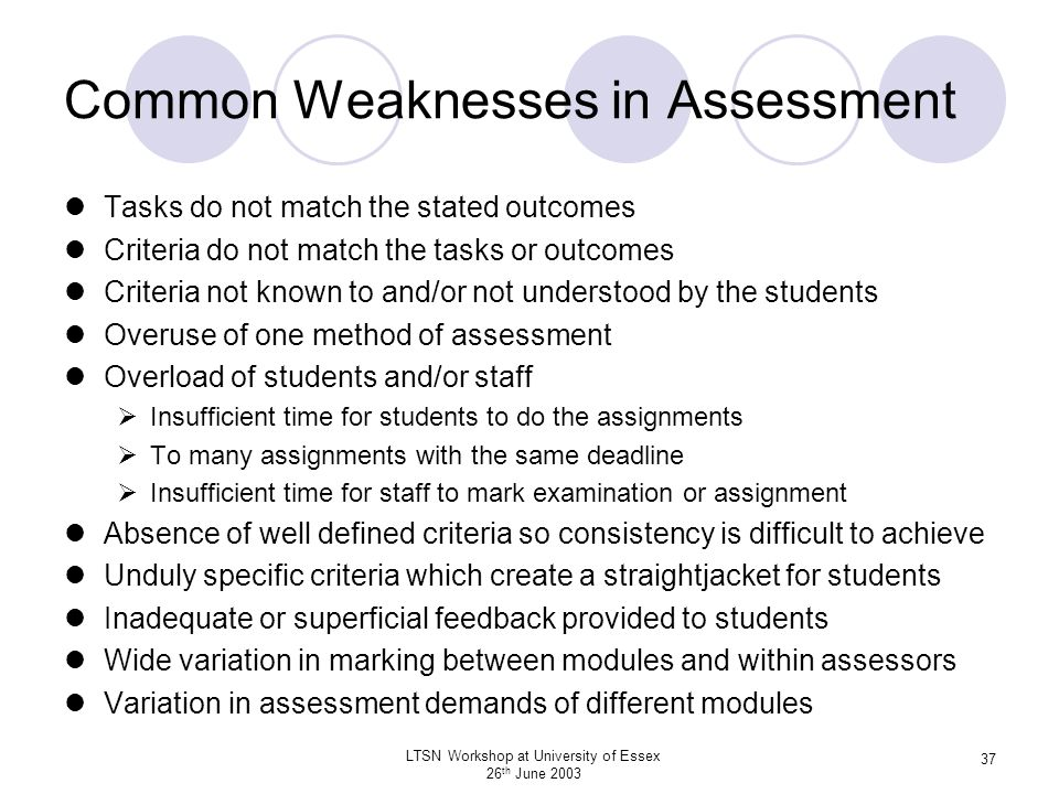 Common Weaknesses in Assessment