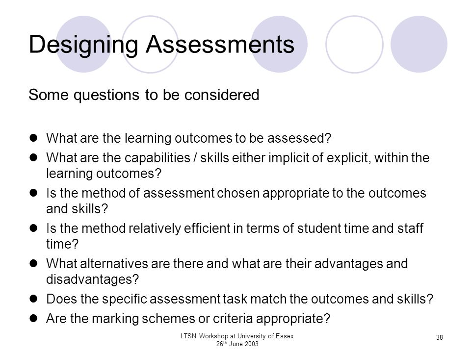 Designing Assessments