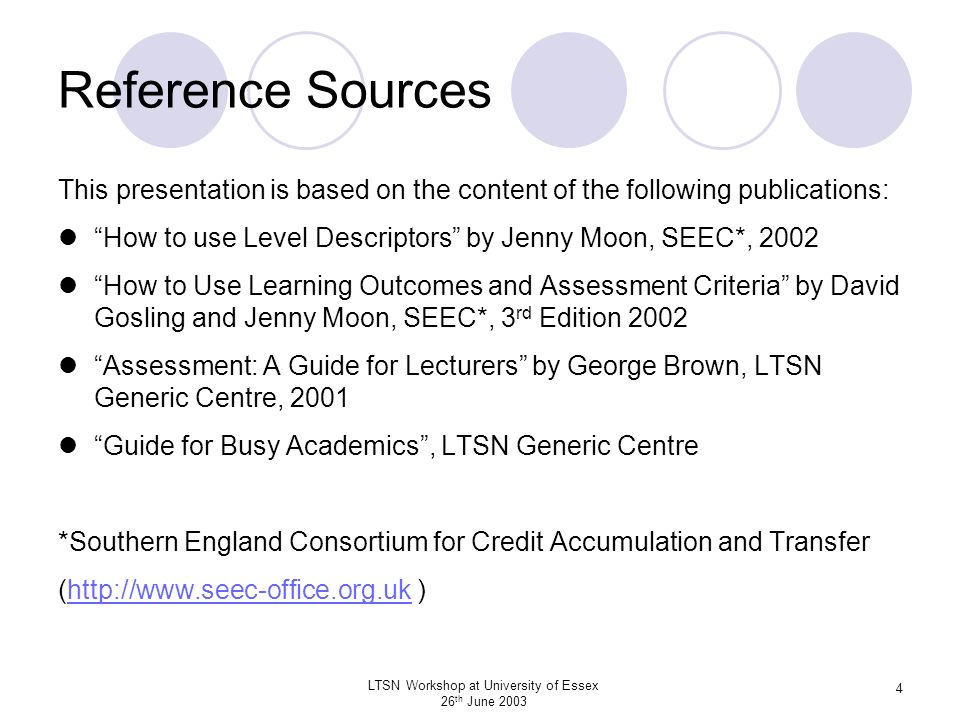 LTSN Workshop at University of Essex