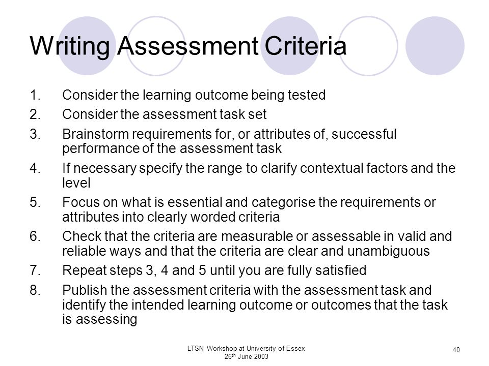 Writing Assessment Criteria