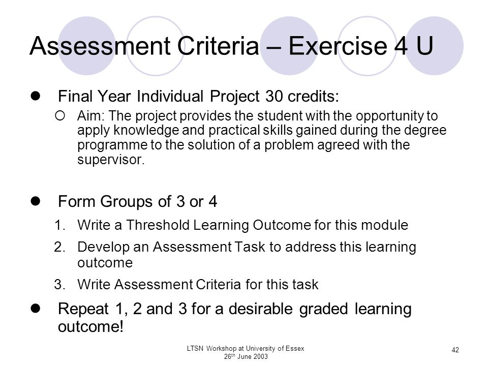 Assessment Criteria – Exercise 4 U