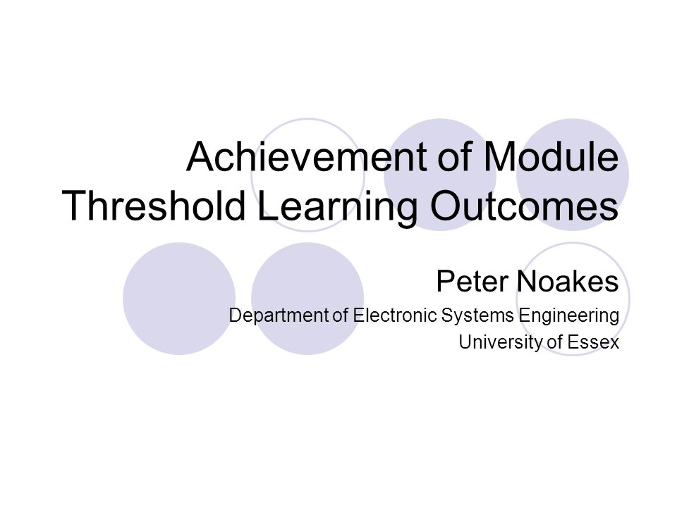 Achievement of Module Threshold Learning Outcomes