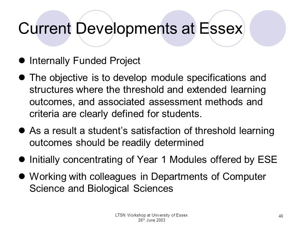 Current Developments at Essex