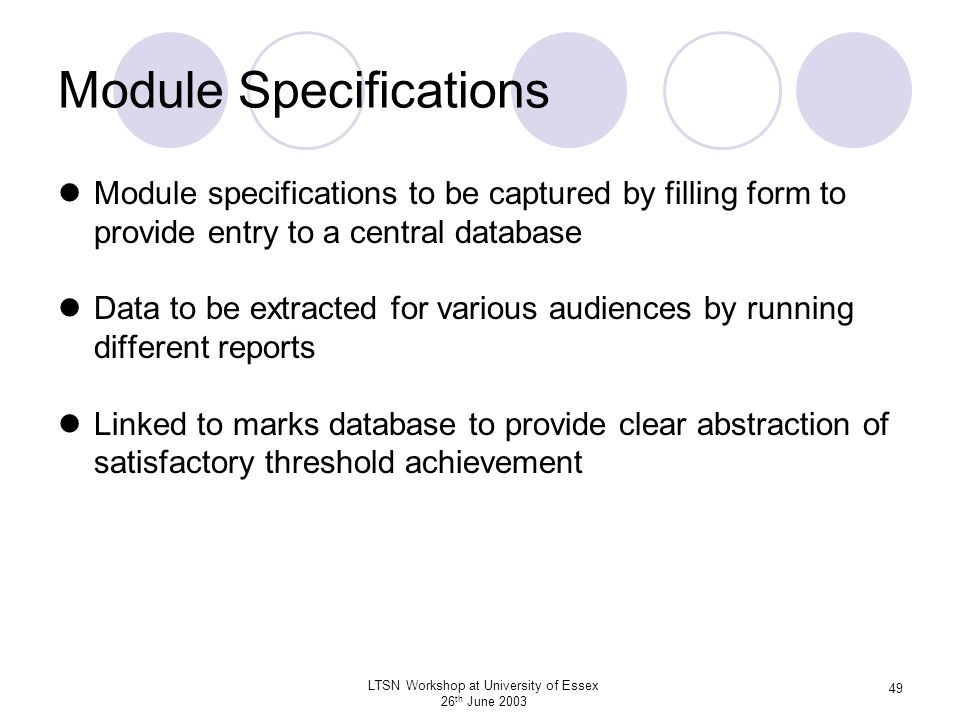 Module Specifications
