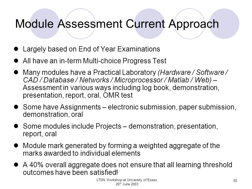 Module Assessment Current Approach
