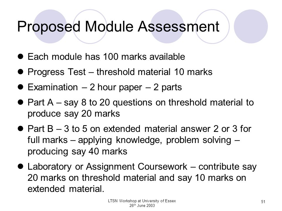 Proposed Module Assessment