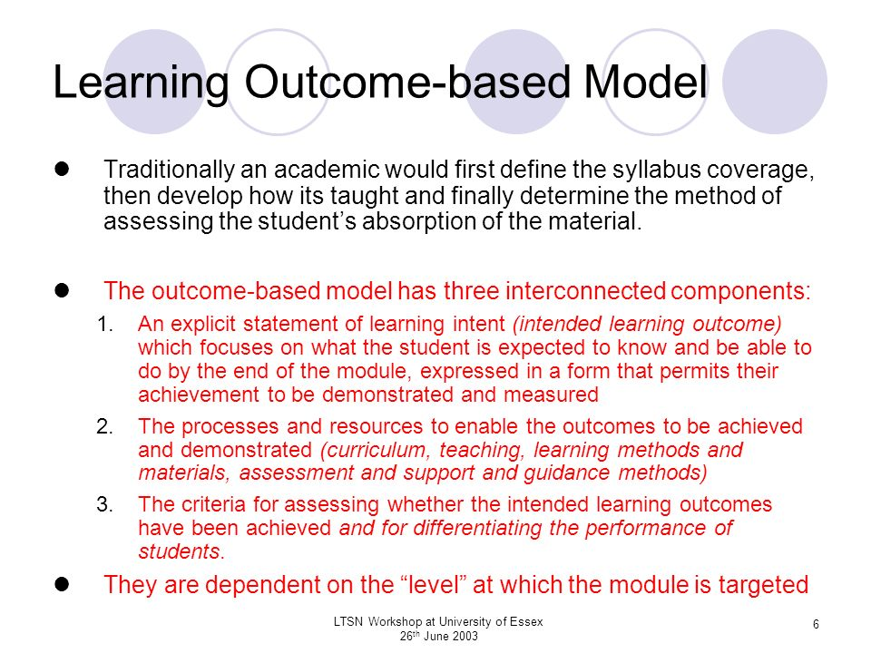 Learning Outcome-based Model