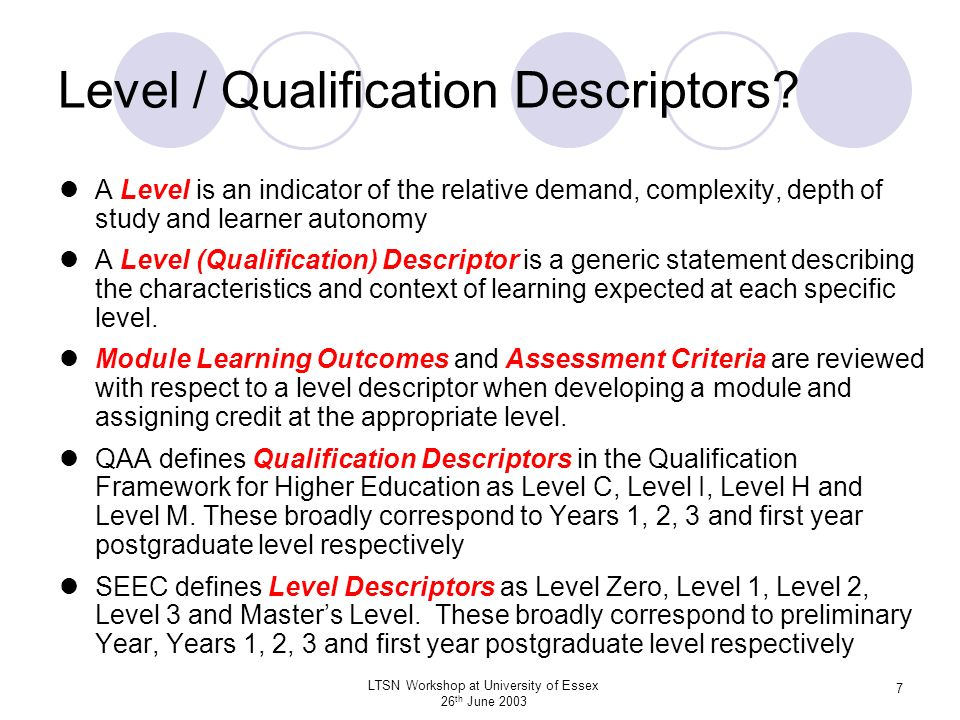Level / Qualification Descriptors