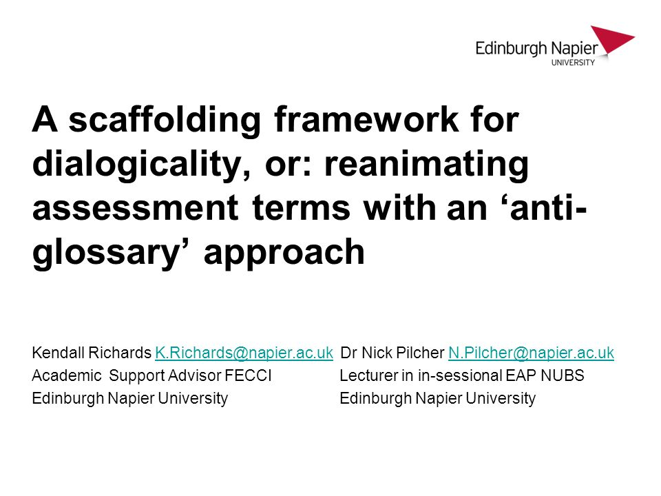 A scaffolding framework for dialogicality, or: reanimating assessment terms with an 'anti-glossary' approach