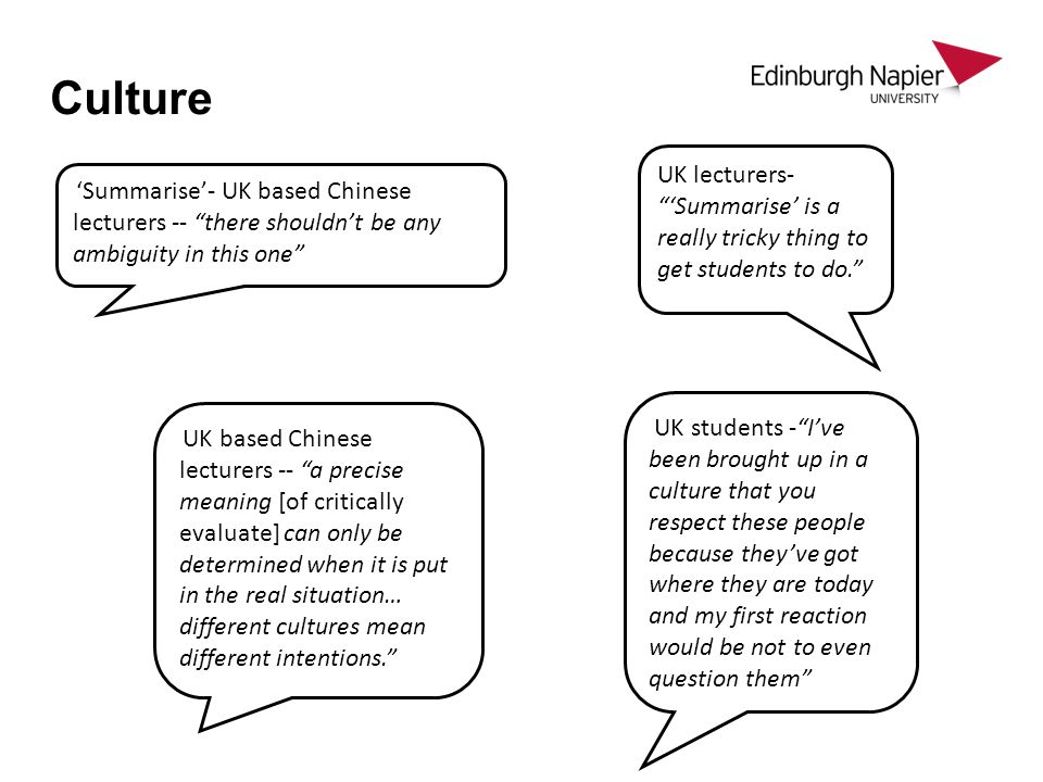 Culture UK lecturers- 'Summarise' is a really tricky thing to get students to do.