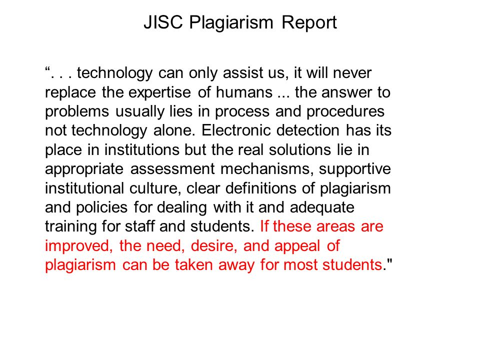 JISC Plagiarism Report