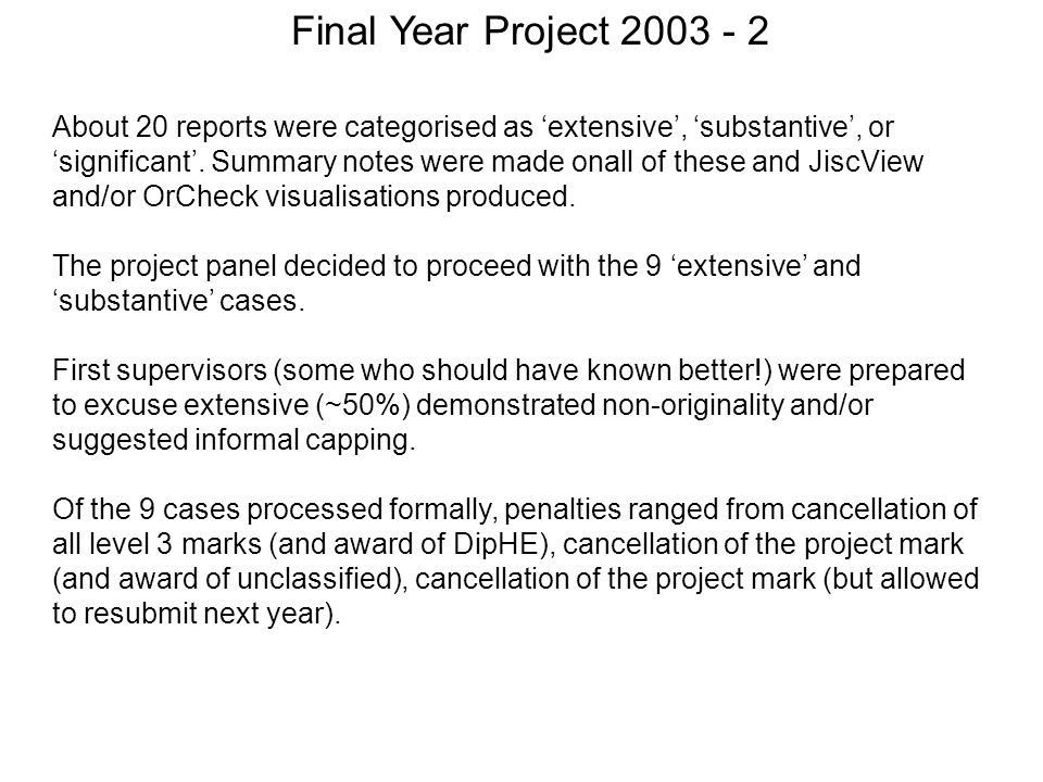 Final Year Project 2003 - 2