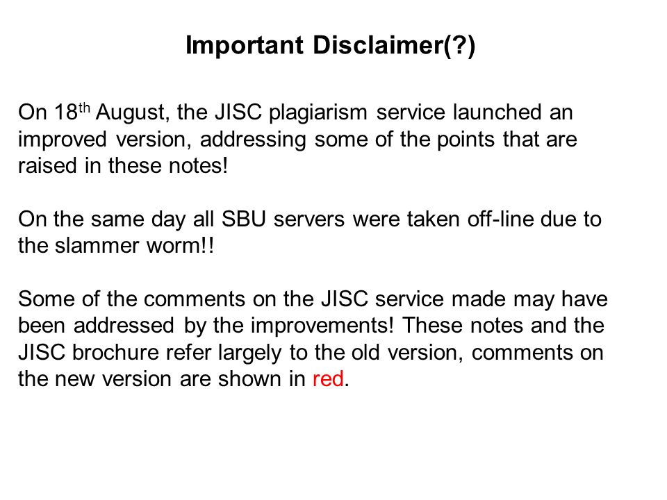 Important Disclaimer( )