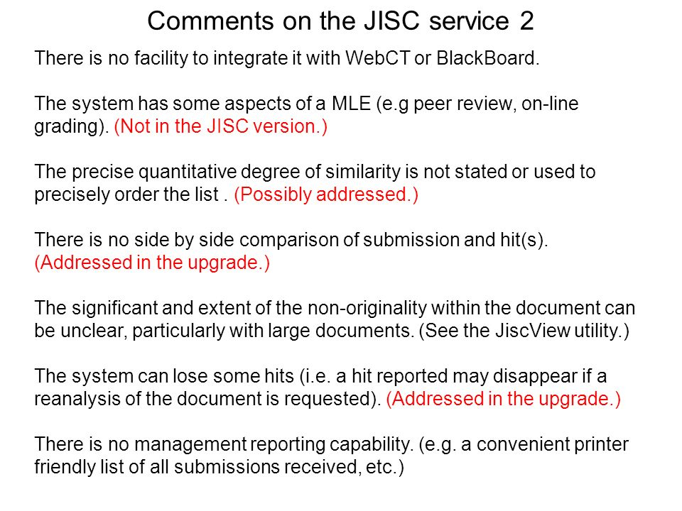 Comments on the JISC service 2