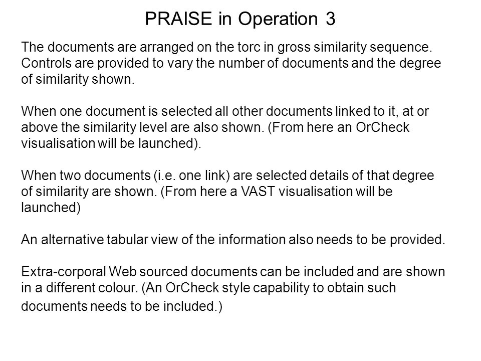 PRAISE in Operation 3