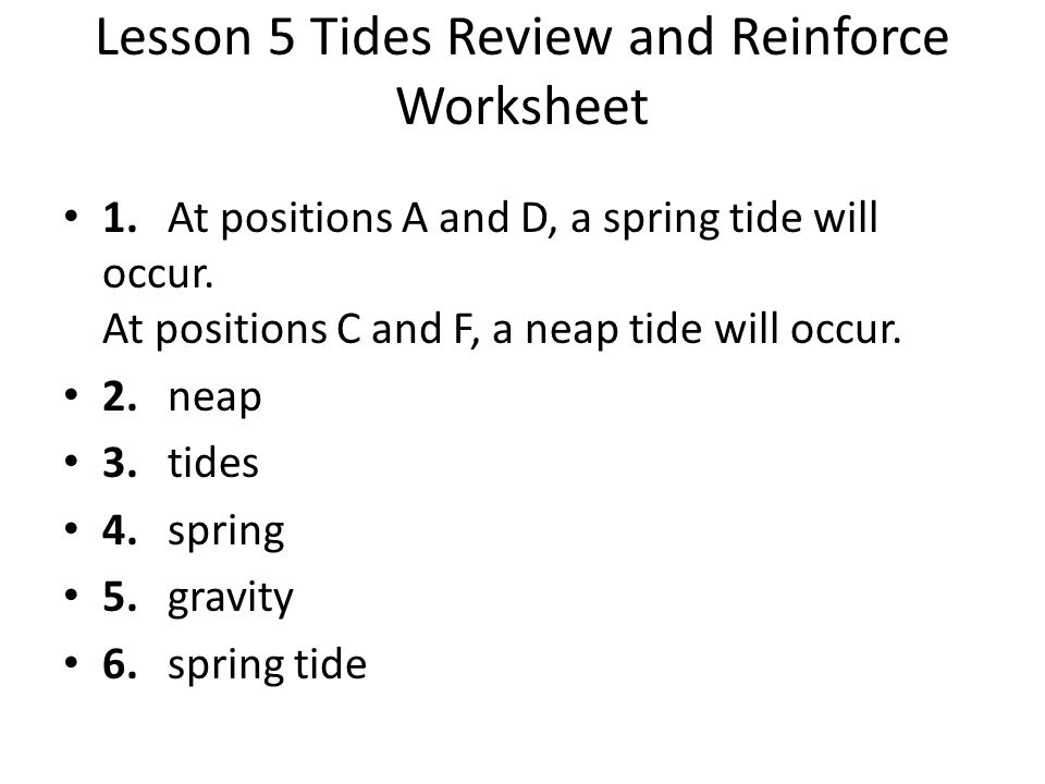 Lesson 5 Tides Review and Reinforce Worksheet
