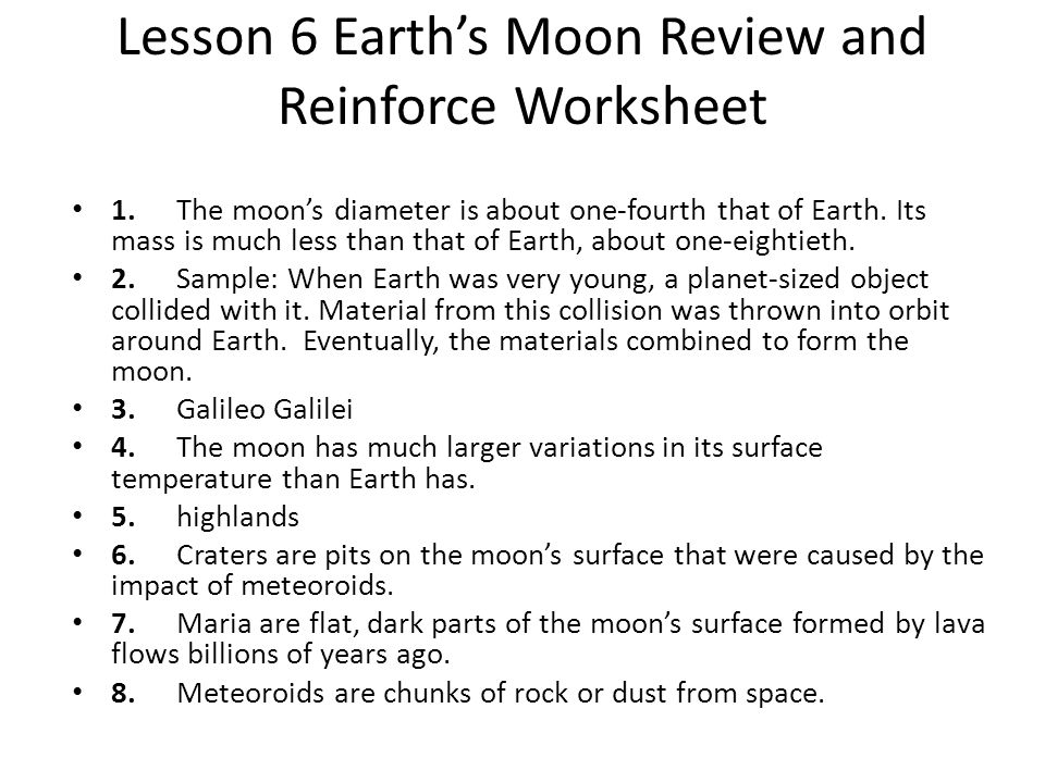 Lesson 6 Earth's Moon Review and Reinforce Worksheet