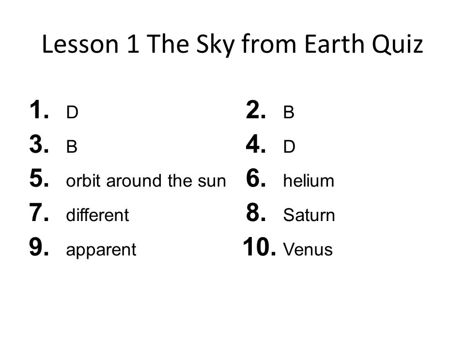 Lesson 1 The Sky from Earth Quiz