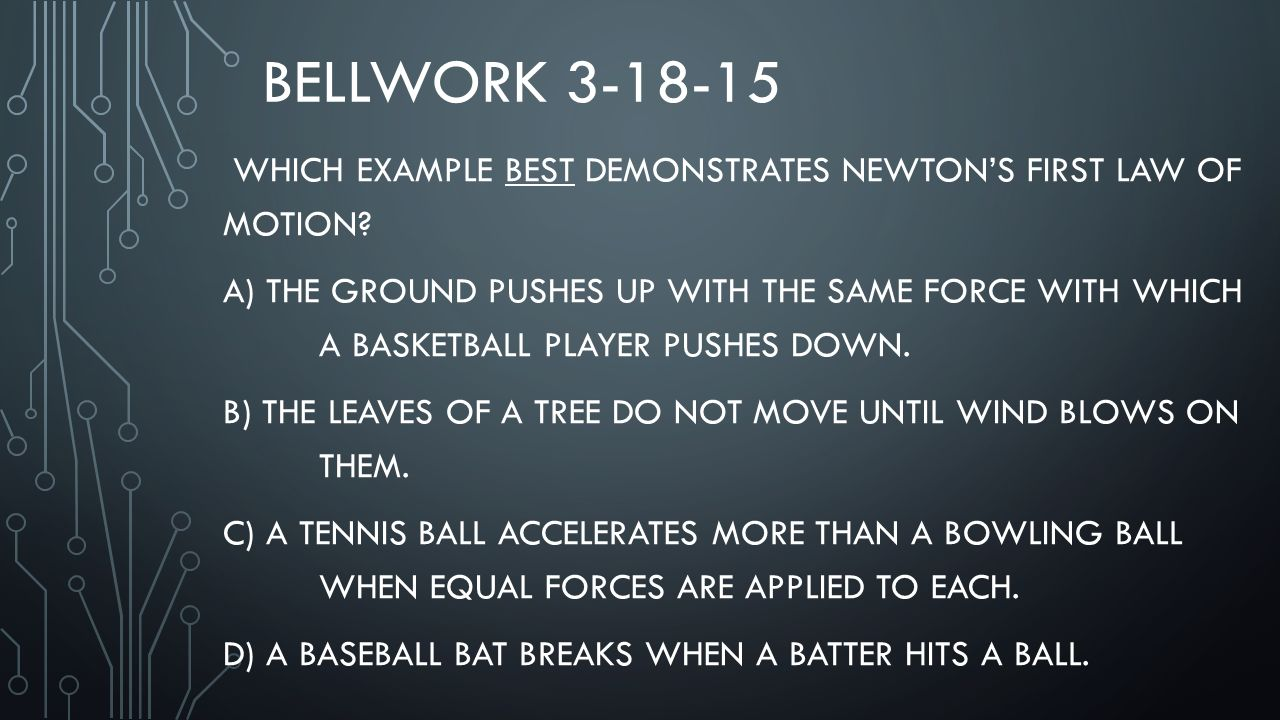 bellwork which example best demonstrates newton s first law of