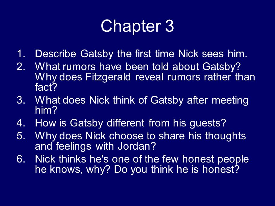 how does fitzgerald tell the story in chapter 5 of great gatsby essay How does fitzgerald tell the story in chapter 7 of the great gatsby essay sample chapter 7 starts by gatsby firing all his servants and then shows up at the buchanan's house with nick and jordan there.