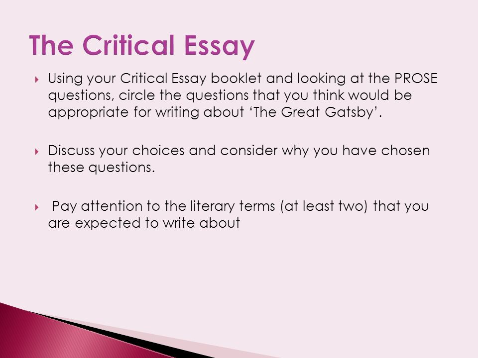 the great gatsby critical essay introduction The secret society and fitzgerald's the great gatsby  of social status in f scott fitzgerald's the great gatsby  textual analysis and critical thinking .