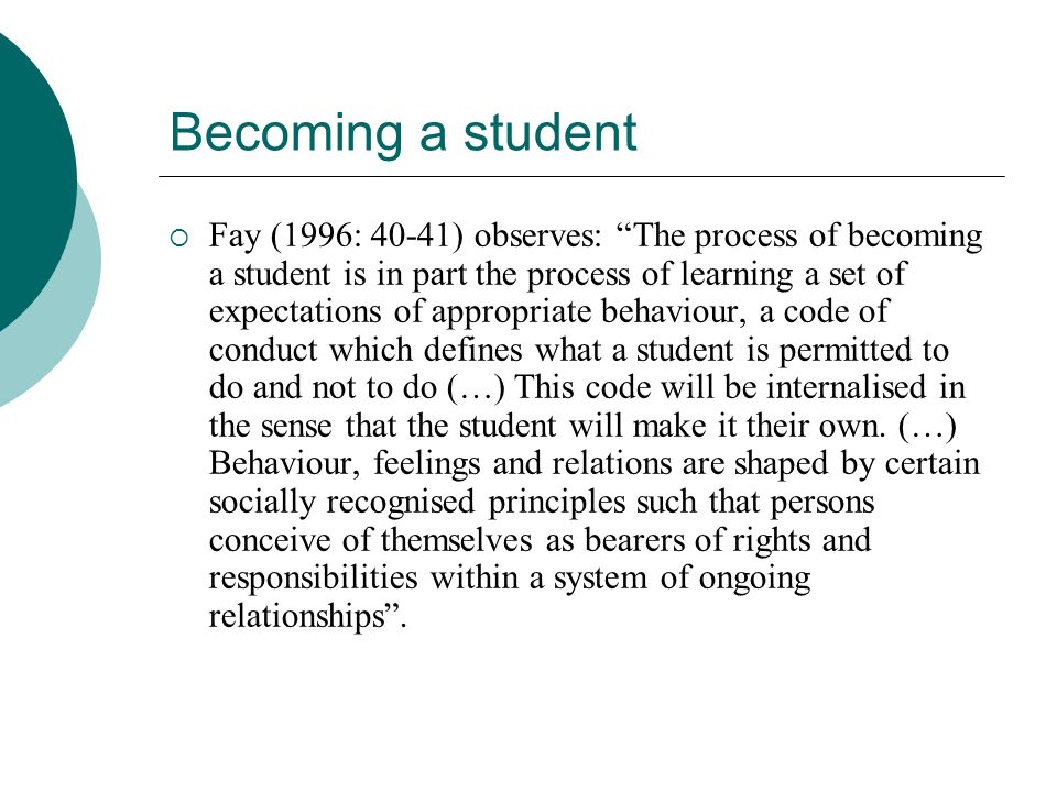 Becoming a student