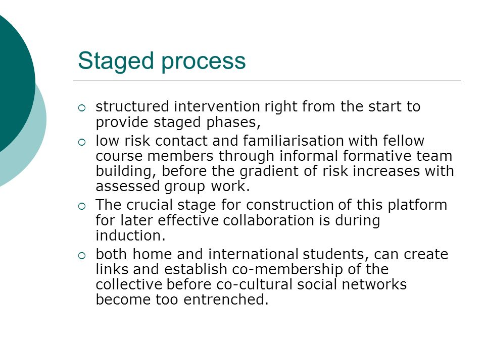 Staged process structured intervention right from the start to provide staged phases,