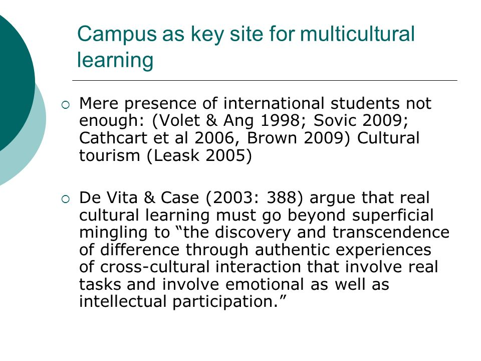 Campus as key site for multicultural learning