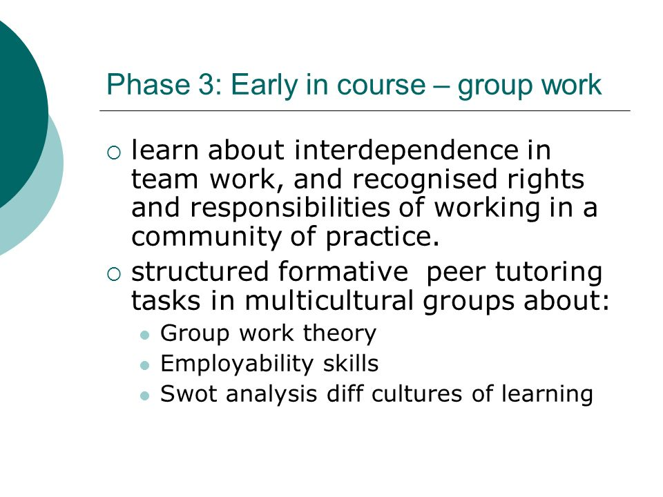 Phase 3: Early in course – group work