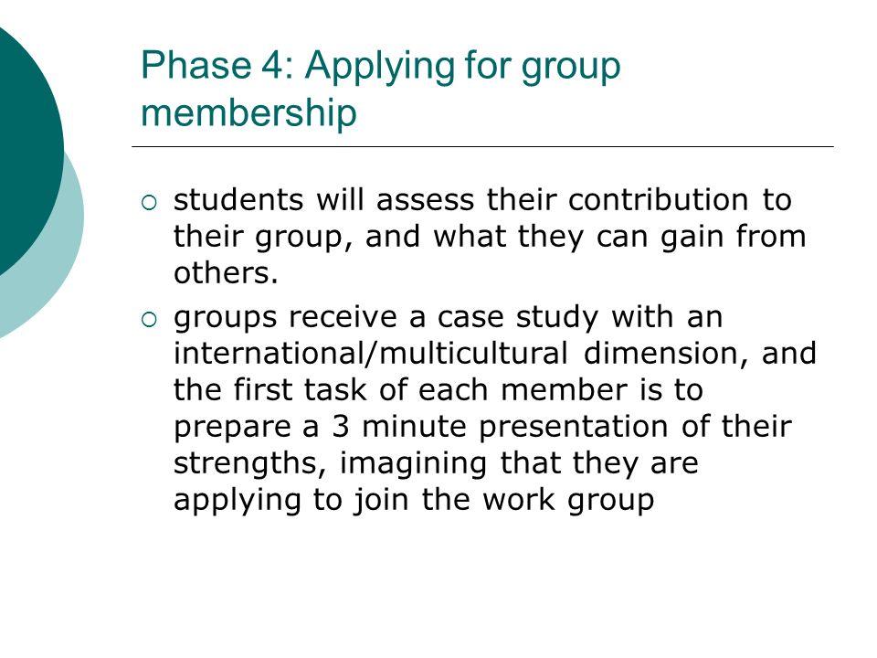 Phase 4: Applying for group membership