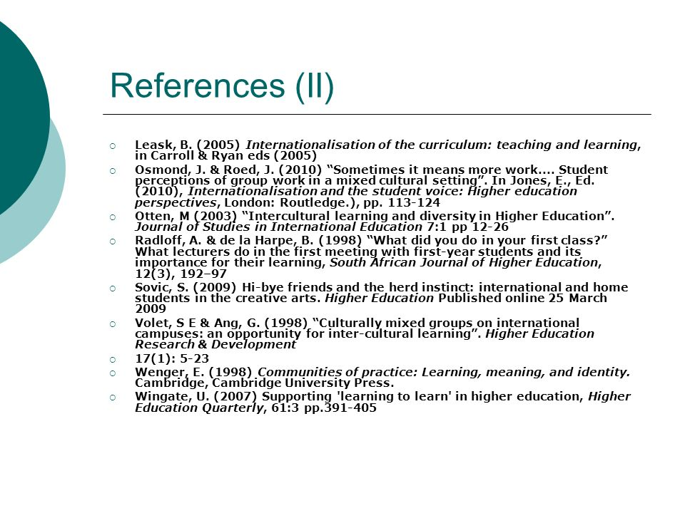 References (II) Leask, B. (2005) Internationalisation of the curriculum: teaching and learning, in Carroll & Ryan eds (2005)