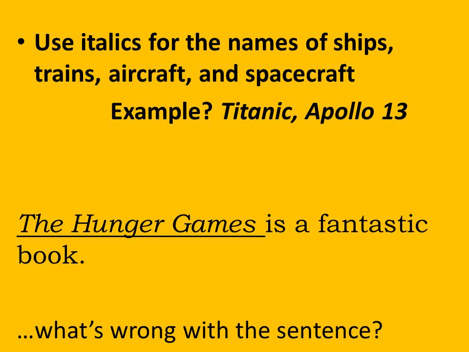 How to write the name of a ship in an essay