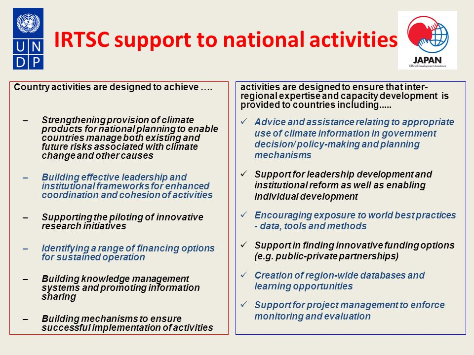 IRTSC support to national activities