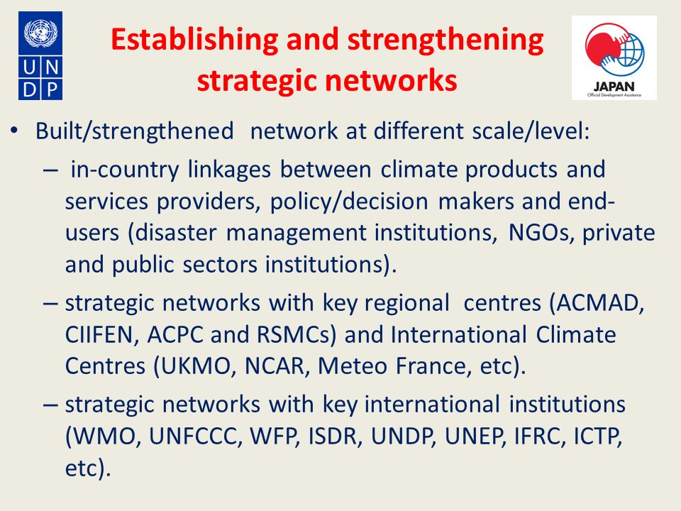 Establishing and strengthening strategic networks